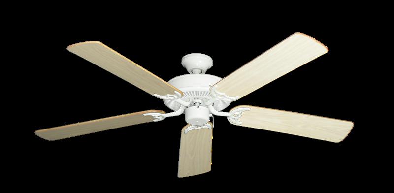 "Bermuda Breeze V Pure White with 52"" Bleached Oak Blades"