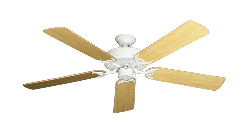 """Picture of Bermuda Breeze V Pure White with 52"""" Honey Oak Gloss Blades"""