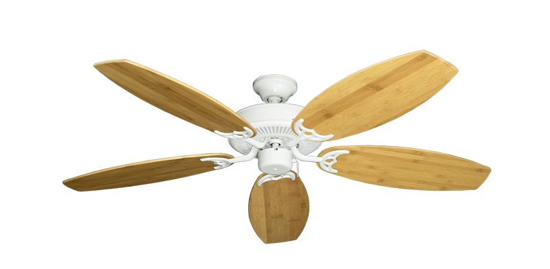 """Picture of Bermuda Breeze V Pure White with 52"""" Oar Bamboo Brown Blades"""