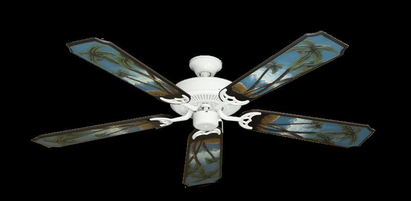"Bermuda Breeze V Pure White with 52"" Series 351 Arbor Palm Tree Blades"