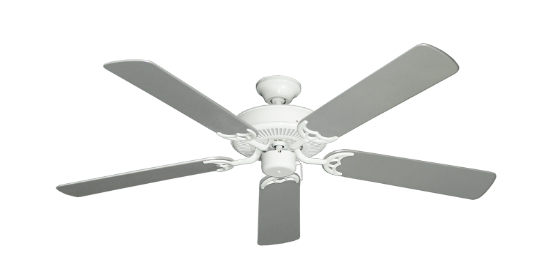 """Bermuda Breeze V Pure White with 52"""" Outdoor Brushed Nickel Blades"""