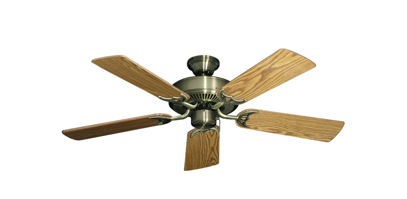 """Picture of Bermuda Breeze V Antique Brass with 44"""" Oak Gloss Blades"""