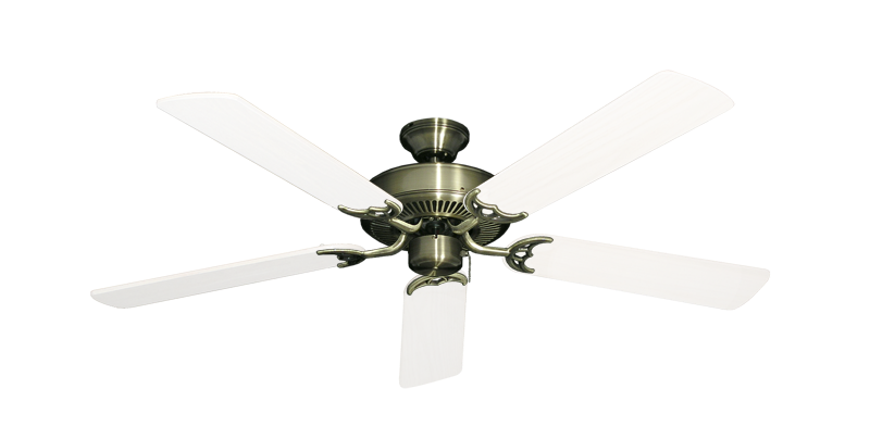 """Bermuda Breeze V Antique Brass with 52"""" Outdoor Pure White Blades"""
