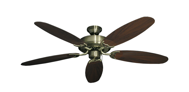 """Picture of Bermuda Breeze V Antique Brass with 52"""" Outdoor Leaf Oil Rubbed Bronze Blades"""