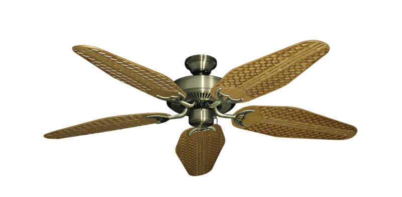 "Picture of Bermuda Breeze V Antique Brass with 52"" Outdoor Weave Walnut Blades"