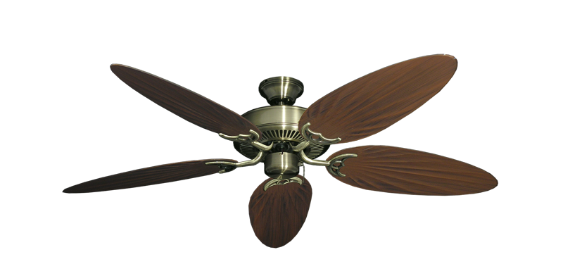 "Picture of Bermuda Breeze V Antique Brass with 52"" Outdoor Palm Oil Rubbed Bronze Blades"