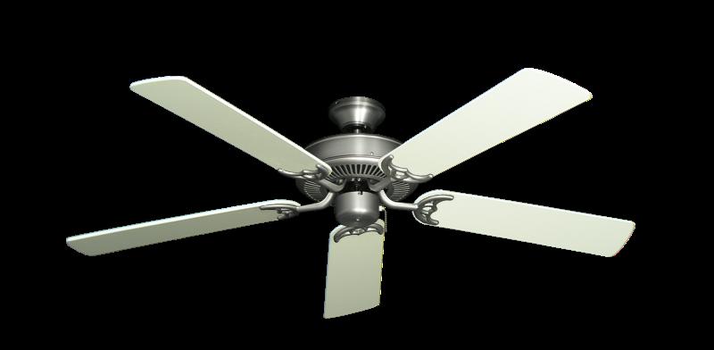 "Bermuda Breeze V Satin Steel with 52"" Antique White Blades"