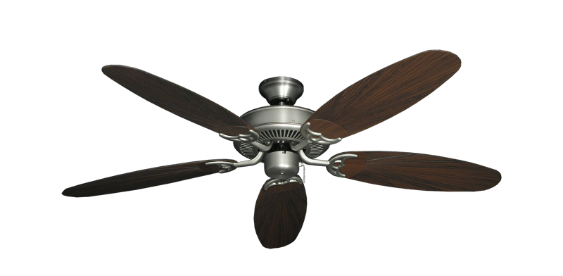 """Bermuda Breeze V Satin Steel with 52"""" Outdoor Leaf Oil Rubbed Bronze Blades"""