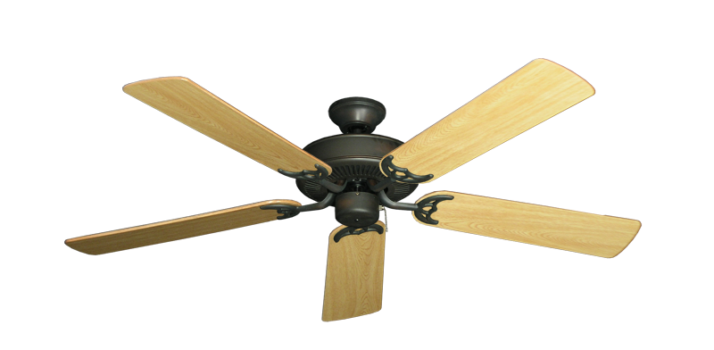 """Picture of Bermuda Breeze V Oil Rubbed Bronze with 52"""" Honey Oak Gloss Blades"""