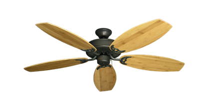 """Bermuda Breeze V Oil Rubbed Bronze with 52"""" Oar Bamboo Brown Blades"""