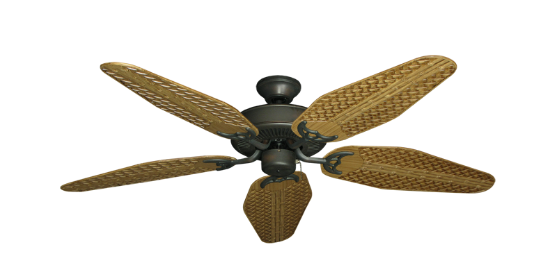 "Picture of Bermuda Breeze V Oil Rubbed Bronze with 52"" Outdoor Weave Walnut Blades"