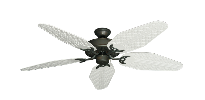"Picture of Bermuda Breeze V Oil Rubbed Bronze with 52"" Outdoor Weave Pure White Blades"