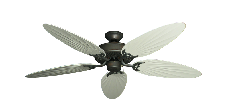 "Picture of Bermuda Breeze V Oil Rubbed Bronze with 52"" Outdoor Palm Antique White Blades"