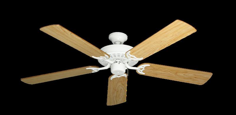 "Bimini Breeze V Pure White with 52"" Maple Blades"
