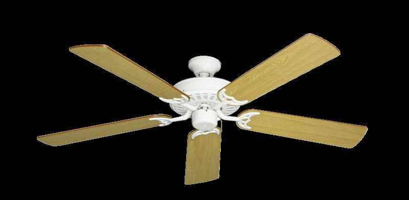 "Picture of Bimini Breeze V Pure White with 52"" Honey Oak Blades"