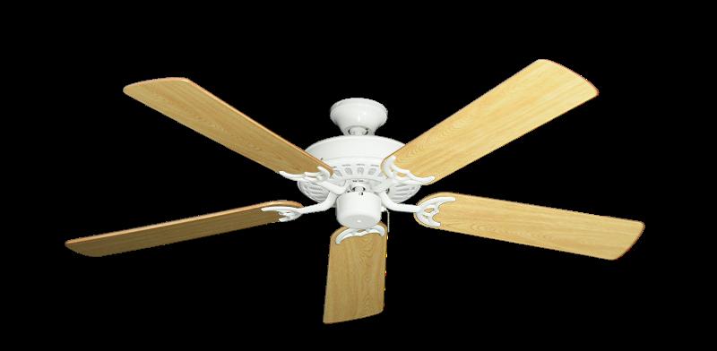 "Picture of Bimini Breeze V Pure White with 52"" Honey Oak Gloss Blades"
