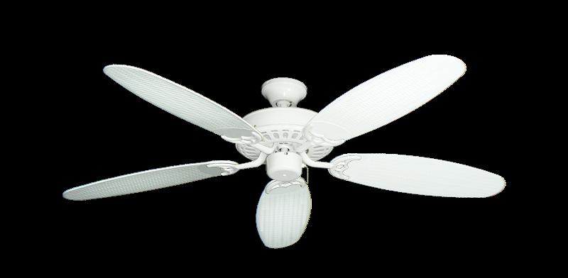 """Bimini Breeze V Pure White with 52"""" Outdoor Wicker Pure White Blades"""