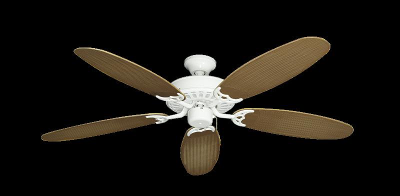 "Picture of Bimini Breeze V Pure White with 52"" Outdoor Wicker Tan Blades"