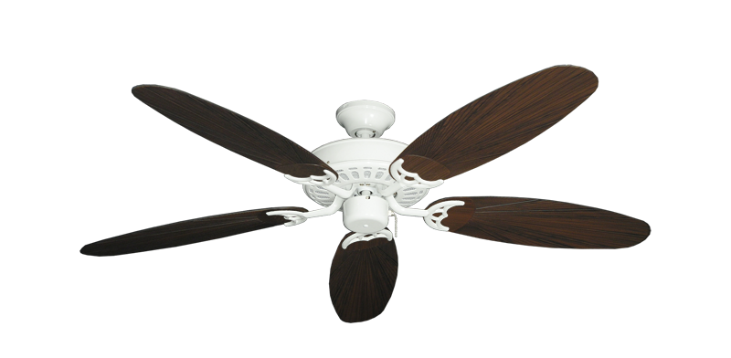 """Picture of Bimini Breeze V Pure White with 52"""" Outdoor Leaf Oil Rubbed Bronze Blades"""