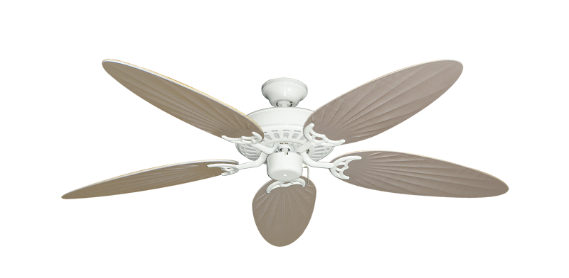 """Bimini Breeze V Pure White with 52"""" Outdoor Palm Distressed White Blades"""