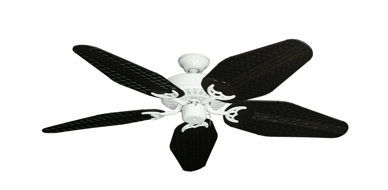 "Picture of Bimini Breeze V Pure White with 52"" Outdoor Weave Oil Rubbed Bronze Blades"