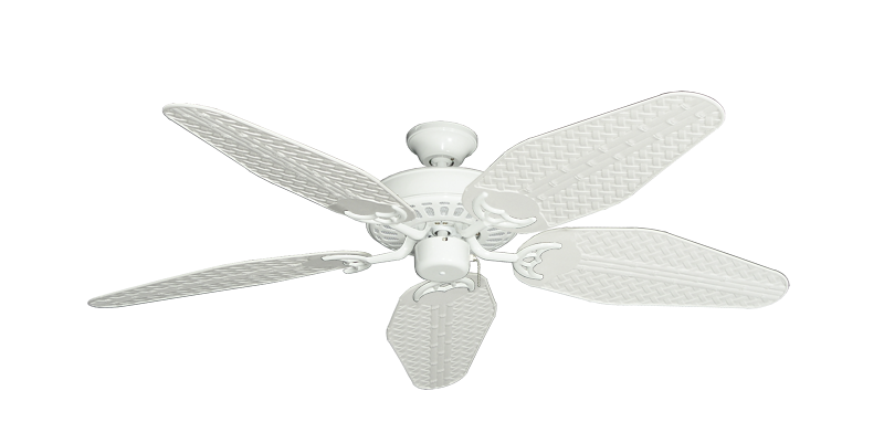 "Picture of Bimini Breeze V Pure White with 52"" Outdoor Weave Pure White Blades"