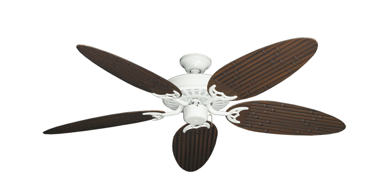 "Picture of Bimini Breeze V Pure White with 52"" Outdoor Bamboo Oil Rubbed Bronze Blades"