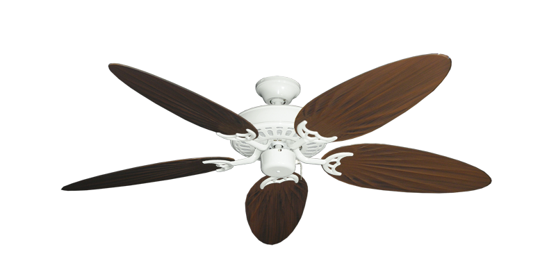 """Picture of Bimini Breeze V Pure White with 52"""" Outdoor Palm Oil Rubbed Bronze Blades"""