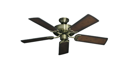 """Picture of Bimini Breeze V Antique Brass with 44"""" Distressed Hickory Blades"""
