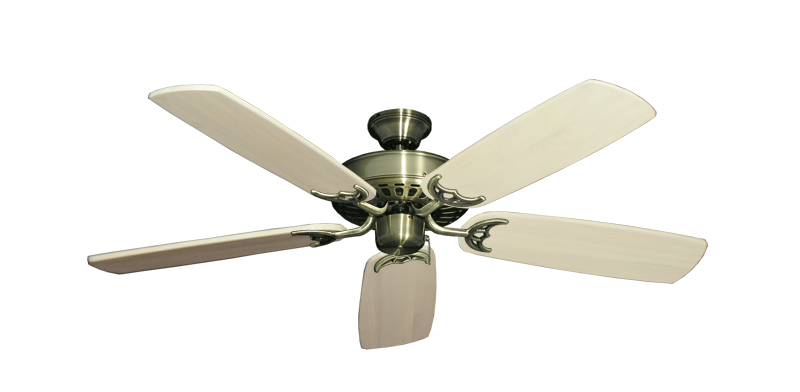 """Picture of Bimini Breeze V Antique Brass with 52"""" Series 425 Arbor Whitewash Blades"""