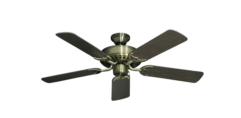 """Picture of Bimini Breeze V Antique Brass with 44"""" Outdoor Oil Rubbed Bronze Blades"""