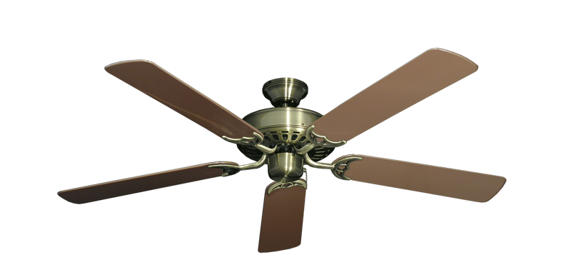 """Picture of Bimini Breeze V Antique Brass with 52"""" Outdoor Brown Blades"""