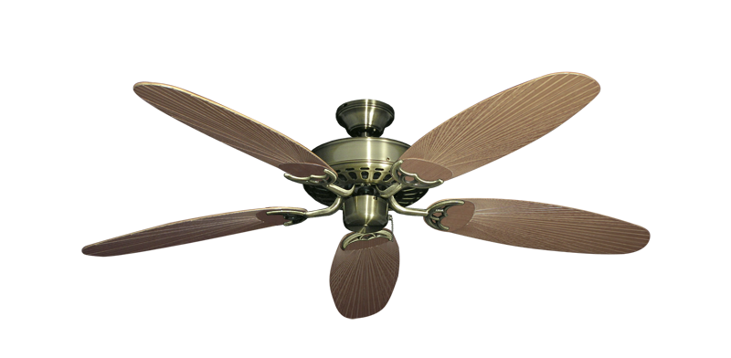 """Picture of Bimini Breeze V Antique Brass with 52"""" Outdoor Leaf Tan Blades"""