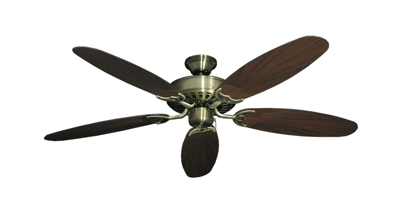 """Picture of Bimini Breeze V Antique Brass with 52"""" Outdoor Leaf Oil Rubbed Bronze Blades"""