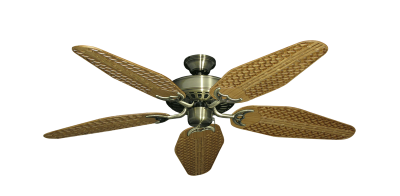 "Picture of Bimini Breeze V Antique Brass with 52"" Outdoor Weave Walnut Blades"