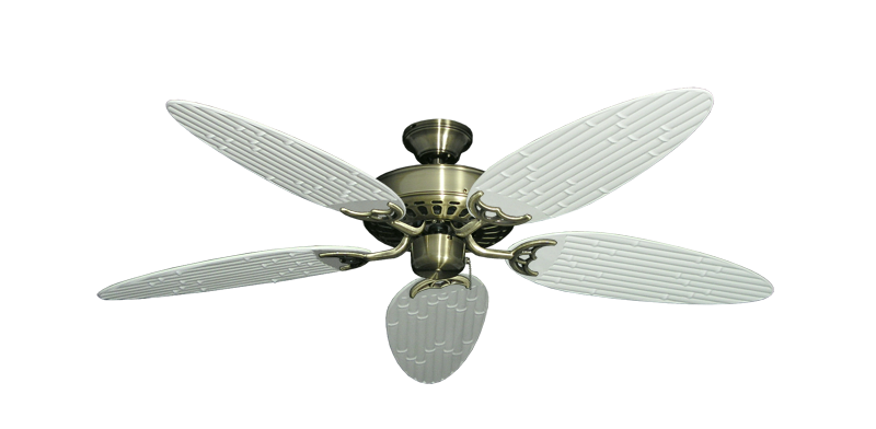 """Picture of Bimini Breeze V Antique Brass with 52"""" Outdoor Bamboo Pure White Blades"""