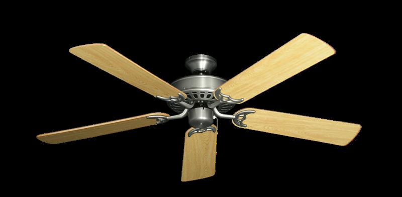 "Bimini Breeze V Satin Steel with 52"" Honey Oak Gloss Blades"
