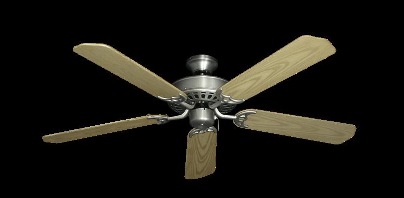 "Bimini Breeze V Satin Steel with 52"" Outdoor Bleached Oak Blades"