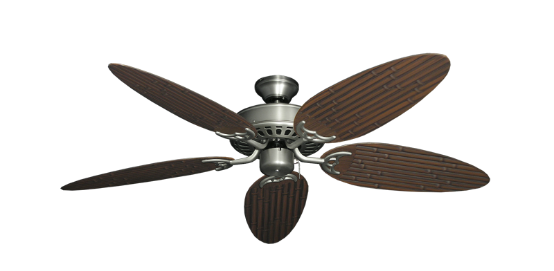 """Picture of Bimini Breeze V Satin Steel with 52"""" Outdoor Bamboo Oil Rubbed Bronze Blades"""