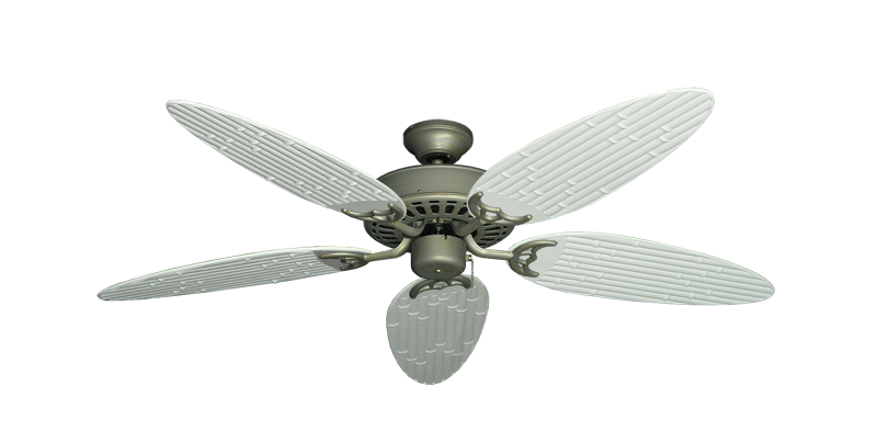 """Bimini Breeze V Antique Bronze with 52"""" Outdoor Bamboo Pure White Blades"""