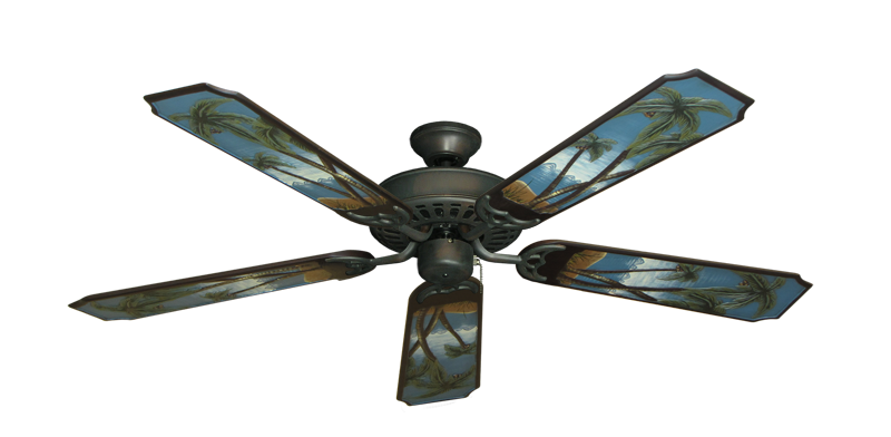 "Picture of Bimini Breeze V Oil Rubbed Bronze with 52"" Series 351 Arbor Palm Tree Blades"