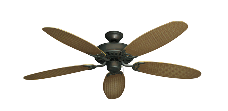 "Picture of Bimini Breeze V Oil Rubbed Bronze with 52"" Outdoor Wicker Tan Blades"