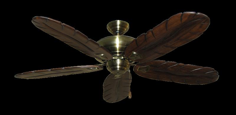 """Picture of Tiara Antique Brass with 58"""" Series 500 Arbor Dark Walnut Blades"""