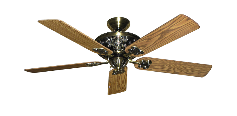 """Picture of Monarch Antique Brass with 52"""" Oak Gloss Blades"""