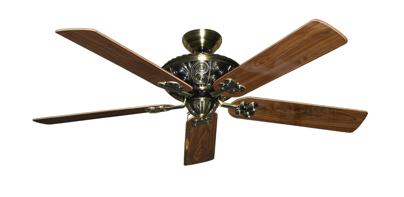 "Picture of Monarch Antique Brass with 56"" Walnut Gloss Blades"