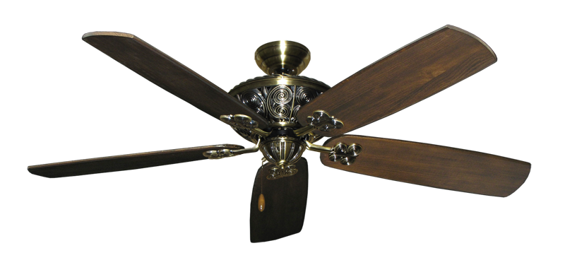 "Picture of Monarch Antique Brass with 60"" Series 725 Arbor Dark Walnut Blades"