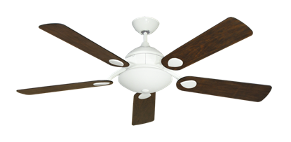 """Picture of Majestic Pure White with 52"""" Distressed Walnut Blades"""