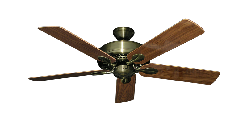 "Picture of Meridian Antique Brass with 52"" Walnut Gloss Blades"