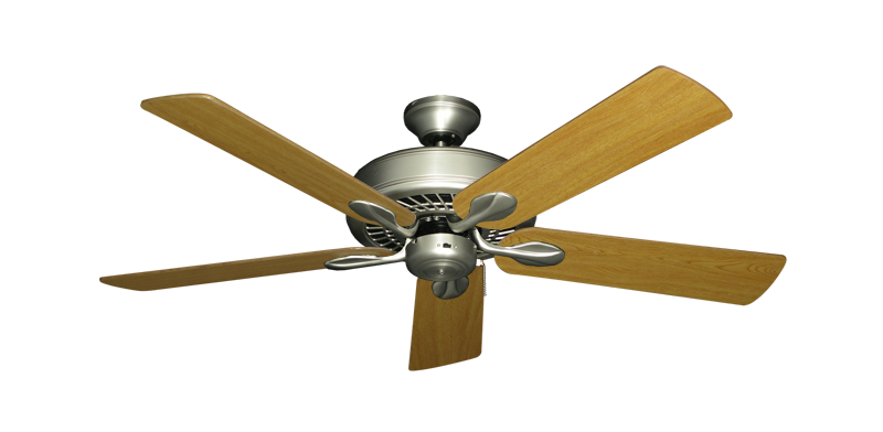 """Picture of Meridian Satin Steel with 52"""" Honey Oak Blades"""