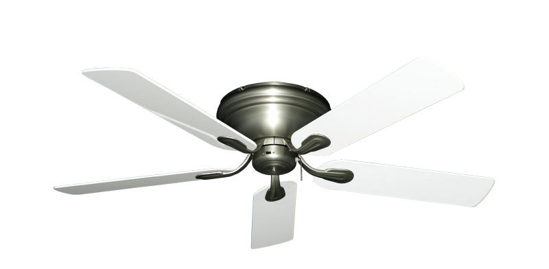 """Picture of Stratus Satin Steel with 52"""" Pure White Gloss Blades"""